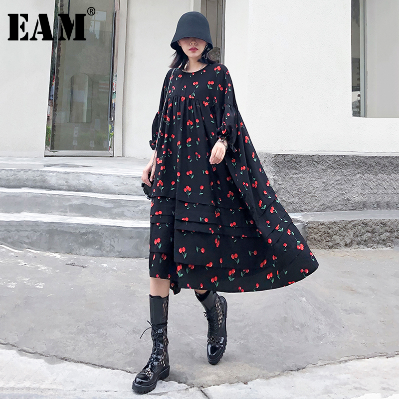 [EAM] Women Pattern Printed Chiffon Big Size Dress New Round Neck Three-quarter Sleeve Loose Fit Fashion Spring Autumn 2020 1T46