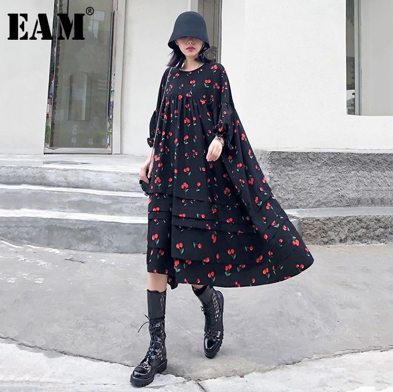 [EAM] Women Pattern Printed Chiffon Big Size Dress New Round Neck Three-quarter Sleeve Loose Fit Fashion Spring Autumn 2020 1T46