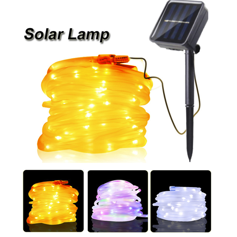 12M/22M Sound Activated New Year Festival Twinkle Lights Wedding Solar Waterproof Rope Tube LED LED Fairy String Lights