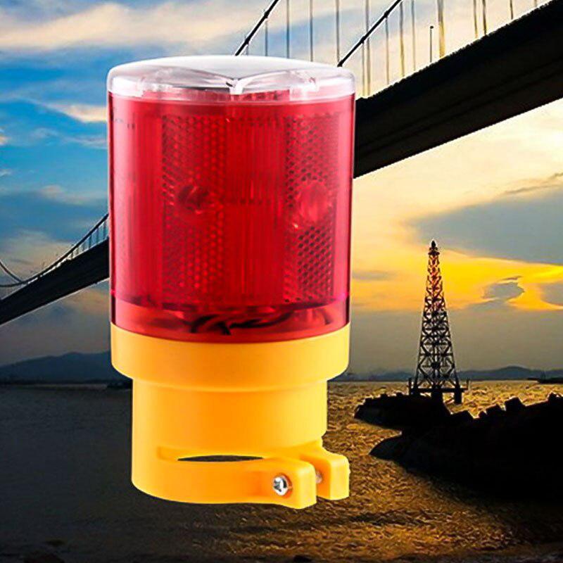 Solar Powered Traffic Warning Light LED Bulb Lamp For Construction Site Harbor Road Emergency Lighting Traffic Indicator Light