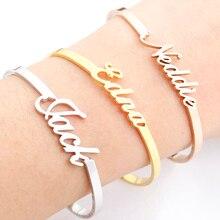 Personalized Name Bracelets Bangles For Women Men Jewelry Stainless Steel Adjustable Custom Nameplate Pulseiras Sieraden BFF