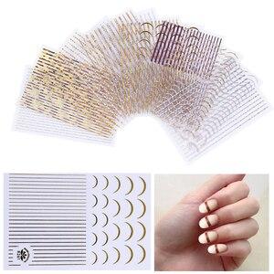 Волнистые самоклеящиеся наклейки для ногтей, ультратонкие лазерные Переводные аксессуары для дизайна ногтей, украшение, дизайн для францу...