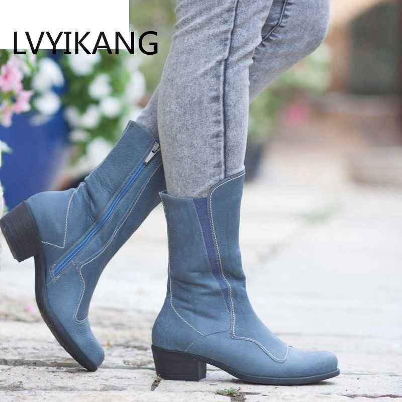 LVYIKANG New 2019 Designed Genuine Leather Boots Women Spring Autumn Boots Cow Leather Mid-calf Botines Mujer Shoes Plus Size 43