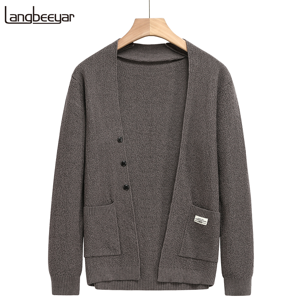2020 High End Designer New Autum Winter Brand Fashion Knit Mens Button Cardigan Sweaters Cute Casual Men Coats Jacket Clothing
