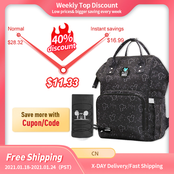 Disney Diaper Bag Backpack For Moms Baby Bag Maternity For Baby Care Nappy Bag Travel Stroller USB Heating Send Free 1Piar Hooks