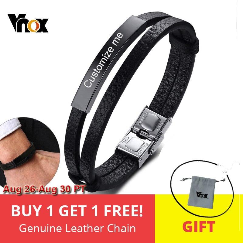 Vnox Mens Bracelets Bangle Engraving Gift Name-Date Custom Stainless-Steel Personalized