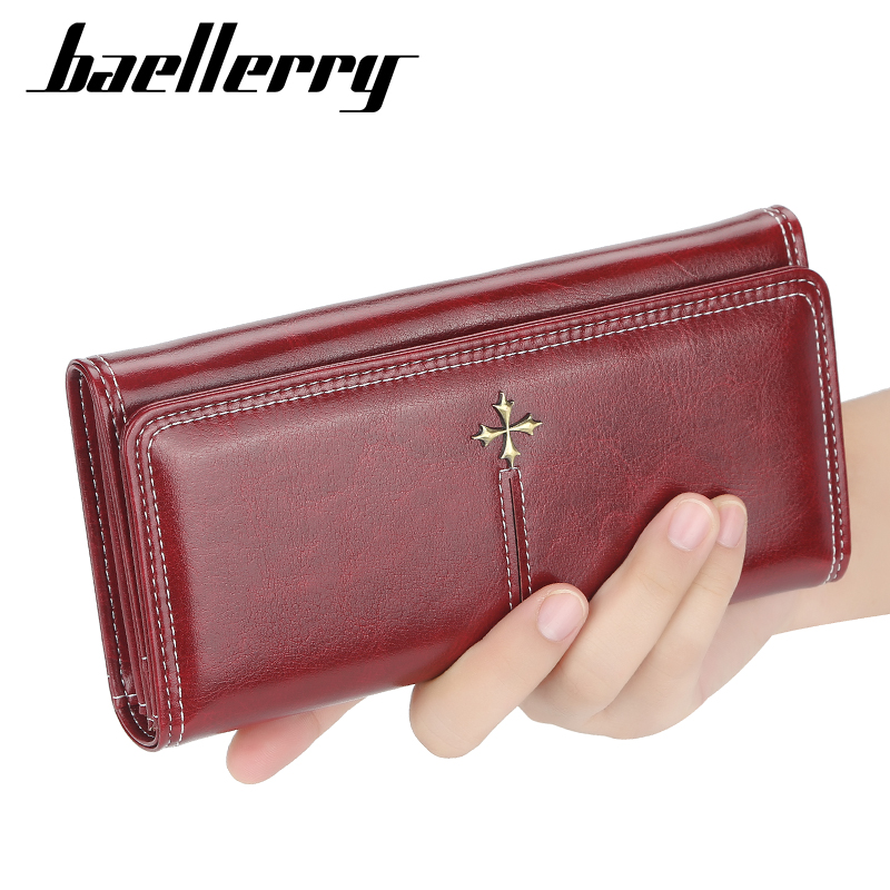 Baellerry Fahion Wallet Women Leather Casual Slim Womens Wallets And Purses Red Phone Leather Card Holder Wallet