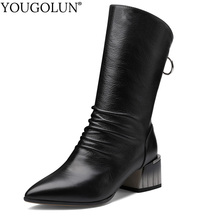 Cow Leather Mid Calf Boots Women Autumn Winter Ladies Shoes Fashion Mid Square Heels A348 Woman Black Apricot Pointed Toe Boots original intention new gorgeous women mid calf boots pointed toe metal thin heels boots black red shoes woman us size 4 10 5