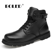 Genuine Leather Men Boots Comfortable Fashion Lace Up Ankle Snow Boots Waterproof  Plush Fur Warm Boots Autumn Winter Shoes Men