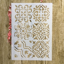 A4 29 * 21cm  floral pattern DIY Stencils Wall Painting Scrapbook Coloring Embossing Album Decorative Paper Card Template