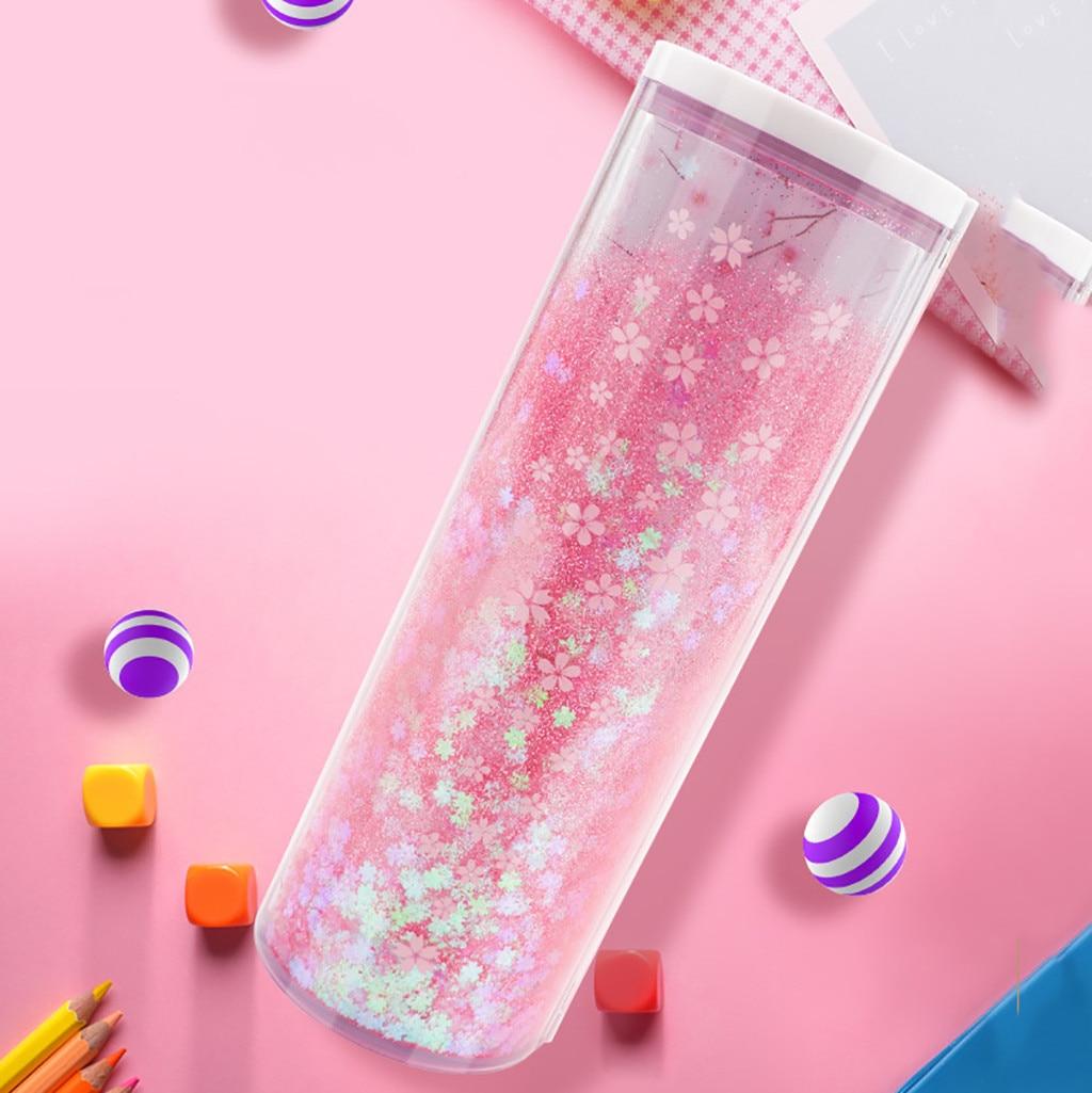 Pen-Holder Pencil-Box-Case Calculator School-Stationery Pink Quicksand Translucent Creative