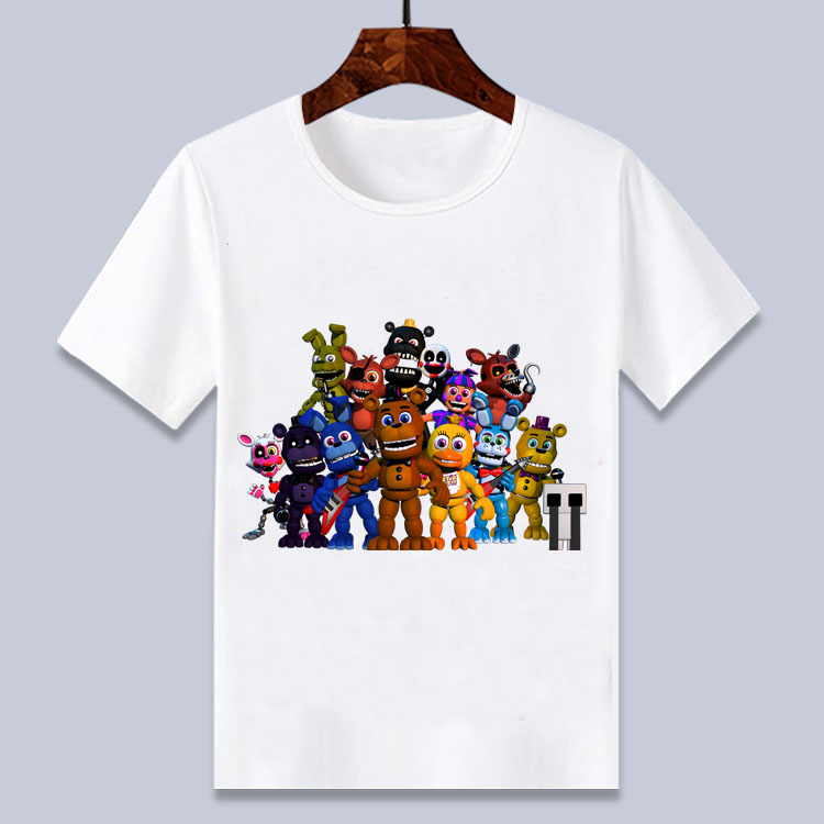 New Summer  Cartoon Fnaf  T Shirt For Boys Print Five Nights At Freddy's  T Shirt Bonnie Foxy Freddy Bear Summer Tops