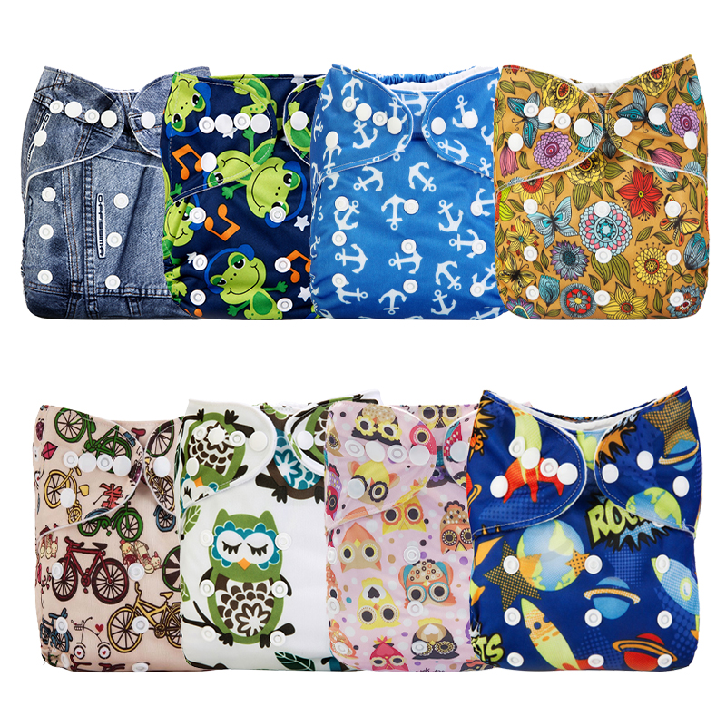 8PCS/Pack Reusable Diaper Pocke Baby Printed Cloth Breathable Waterproof Nappy Cover Diaper Sent Random Color
