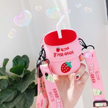 Universal Pouch bag ins Banana Strawberry milk wallet bag for airpods Coin Lipstick Shoulder bag holster girl Gift child +strap(China)