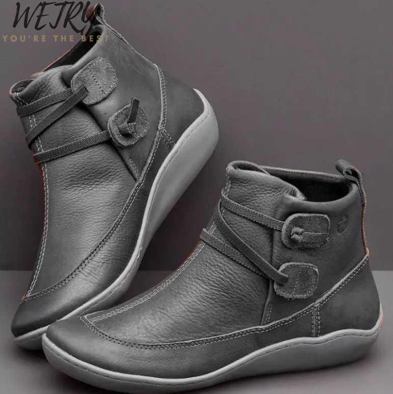 Boyutu 35-43 düz Platform çizmeler kadın ayakkabıları sonbahar kış kürk moda yuvarlak ayak dantel-up deri bot bayan ayakkabı