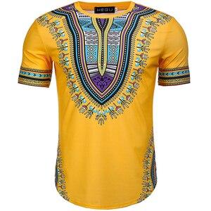 Image 3 - Camiseta Dashiki con estampado de estilo africano para hombre, camiseta de manga corta con cuello redondo, camiseta ajustada informal para Festival, 2020