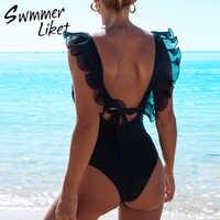 Branco mulher brasileira maiô uma peça bodysuits sexy malha transparente biquíni 2020 alta corte babados banho feminino monokini