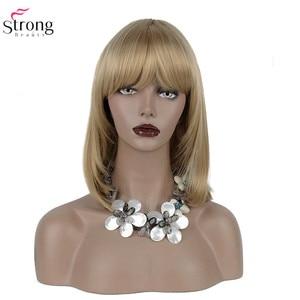 Image 2 - StrongBeauty 女性の合成かつらの髪ブロンド/黒セミロングストレート髪すっきりビッグバンスタイルナチュラかつらキャップレス