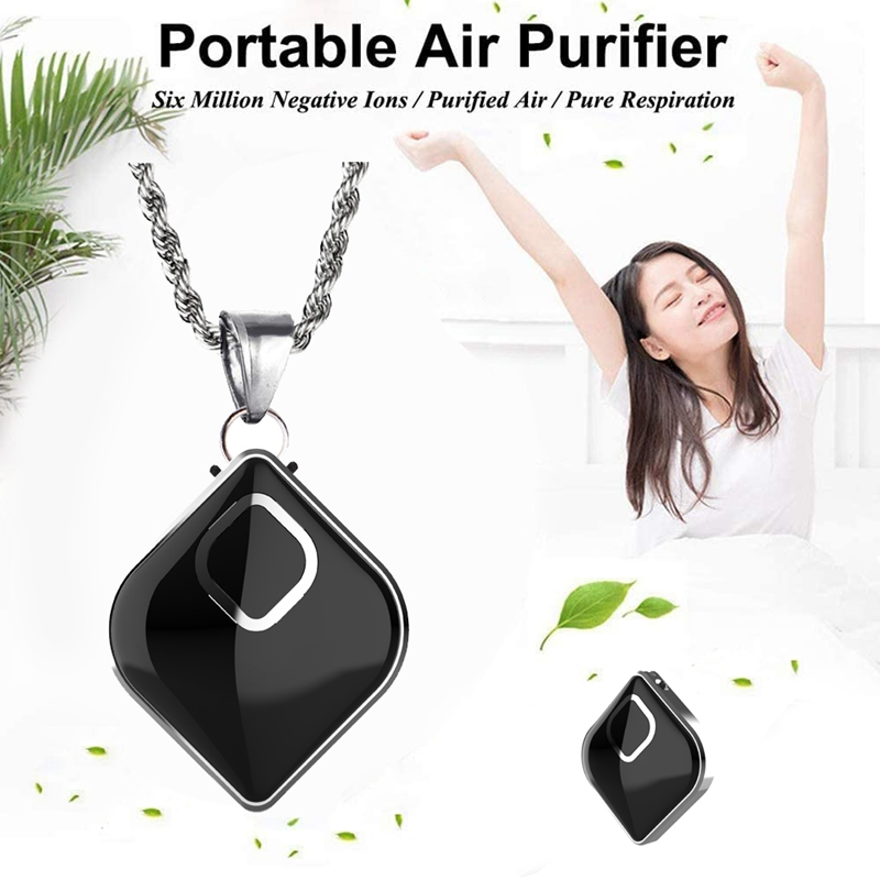 Wearable Air Purifier Portable Necklace Air Cleaner Negative Ion Generator For Travel Office Car Home(Black)
