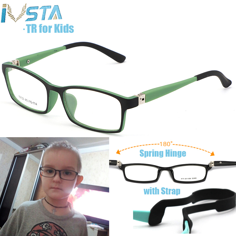 IVSTA Children Glasses With Strap For Kids Glasses TR Flexible Child Boys Girls Myopia Optical Amblyopia Prescription Pink Baby