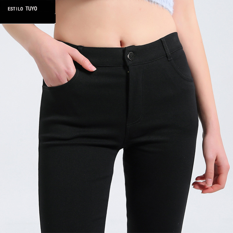 More Thicken Plus Size Women Pencil Pants Cotton Trousers 2019 New Pocket Trousers Slim Jeggings Denim Skinny