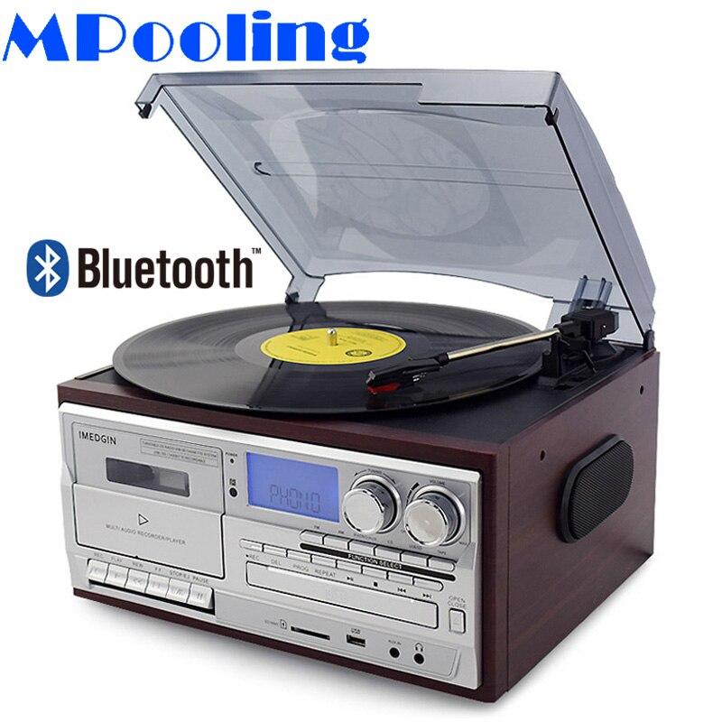 Mutualisation Vintage Gramophone rétro disque vinyle platine vinyle lecteur Phono CD lecteur Cassette MP3 USB enregistreur Bluetooth