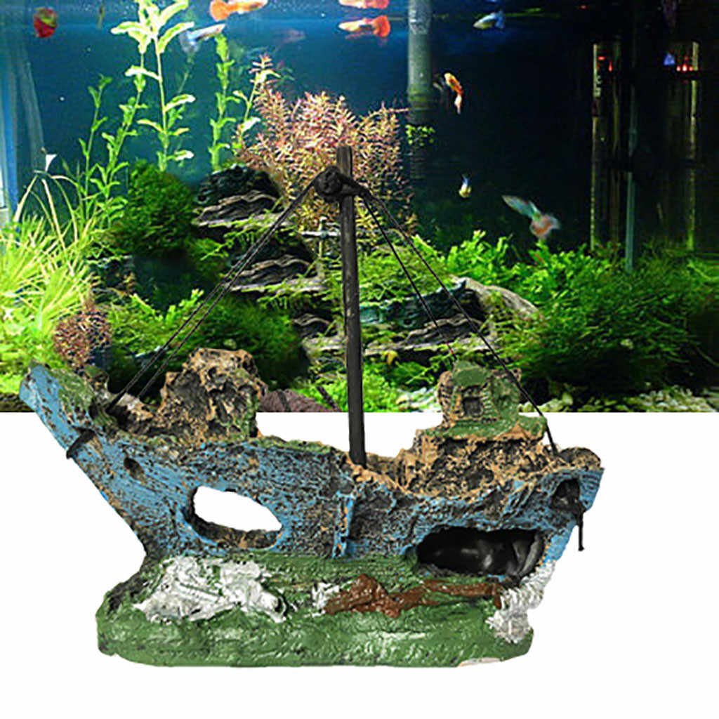 Home Landscaped Aquarium Ornament Wreck Sunk Ship Aquarium Ornament Sailing Boat Destroyer Fish Tank Tank Aquarium Decoration