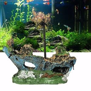 Home Landscaped Aquarium Ornament Wreck Sunk Ship Aquarium Ornament Sailing Boat Destroyer Fish Tank Tank Aquarium Decoration