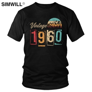 Vintage 1960 Shirt Men Pure Cotton 60th 60 Years Old Birthday Gift T Shirt Born in 60s T-Shirt Short Sleeved Leisure Tee Tops(China)