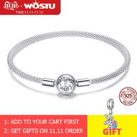 WOSTU High Quality Real 925 Sterling Silver Forever Love Bracelet For Women Fit Original Brand DIY Beads Charm Jewelry CQB105