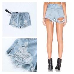 Belle Donne Sexy Dei Jeans del Foro Tasche Brevi Streetwear Scava Fuori Nappa Vita Alta In Denim shorts casual Solido shorts