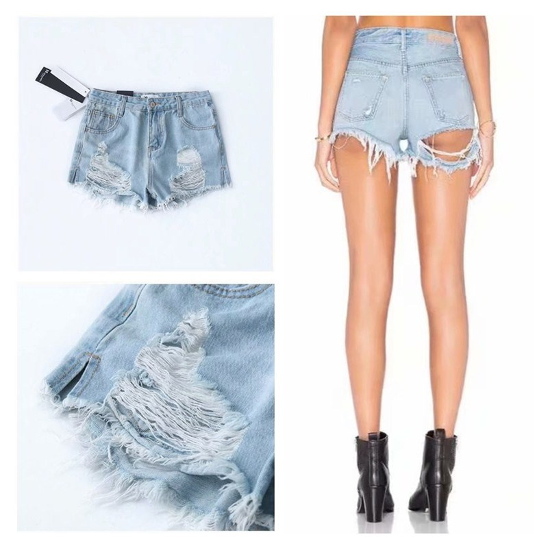 Nice Sexy Women Hole Jeans Short Pockets Streetwear Hollow Out Tassel High Waist Denim Shorts Casual Solid Shorts