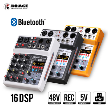 4 Channel 16 DSP Audio Mixer USB Sound Card Interface Console with bluetooth 48V Phantom Power XLR Balanced Output tkl t12 professional stage 12 channel audio dj mixer bluetooth sound mixer audio karaoke phantom power 48v usb jack