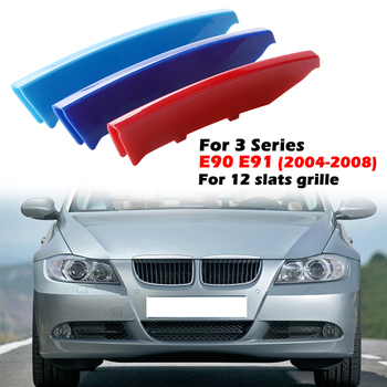 12 Slats Kidney Front Grill Grille Decal Stripe Cover Clip Trim For BMW 3 Series E90 E91 2004-2008 M-Sport Decorative Parts image
