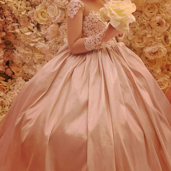 Long Sleeves 2019 Flower Girl Dresses For Weddings Ball Gown Appliques Lace Beaded Long First Communion Dresses Little Girl