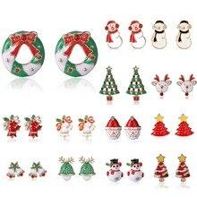 13 Styles Cute Christmas Earrings For Women Lovely Coral Deer Antler Rhinestone Stud Donut Santa Claus Ladies