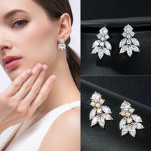 New Arrival High Quality Marquise Lead Cubic Zirconia Crystal Drop Earrings for Wedding Bridal or Bridesmaid