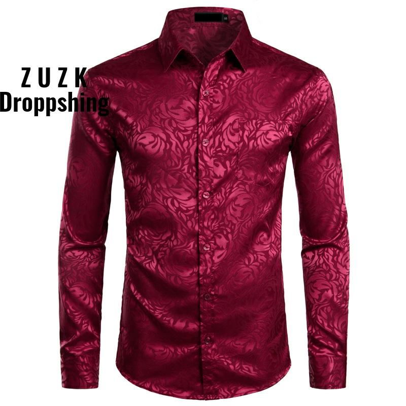 Men's Floral Black Dress Shirts Stylish New Long Sleeve Steampunk Shirt Men Party Club Bar Social Shirt Male Chemise Homme