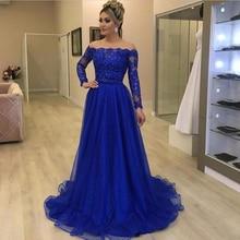 Modern 2021 Lace Mother of the Bride Dresses Long Sleeves Wedding Party Dresses Royal Blue Appliqued Bow Belt Mother Dresses