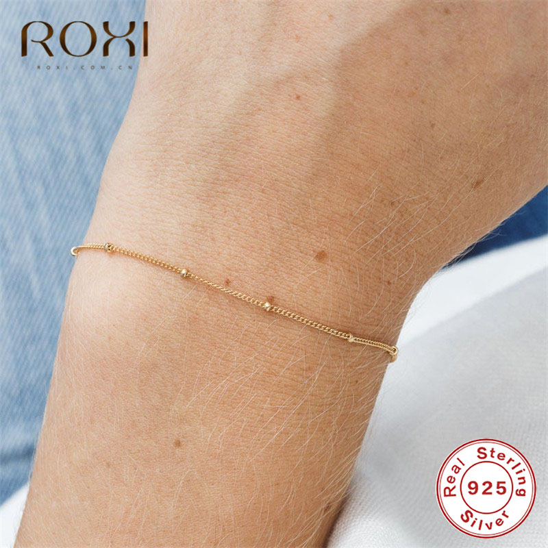 ROXI 925 Sterling Silver Bracelet Tiny Thin Beads Curb Chain Bracelet for Women Simple Charm Bracelets & Bangles Wedding Jewelry