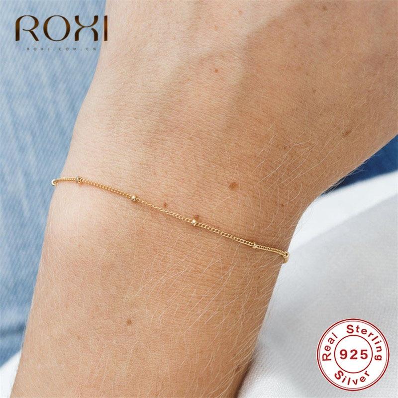 ROXI 925 Sterling Silver Bracelet Tiny Thin Beads Curb Chain Bracelet for Women Simple Charm Bracelets & Bangles Wedding Jewelry