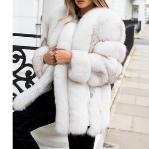 Image 3 - BFFUR Outerwear Womens Real Fur Coat 2020 Genuine Leather Natural Jacket Ladies Tops Fashion Medium Winter Coat Whole Skin Solid
