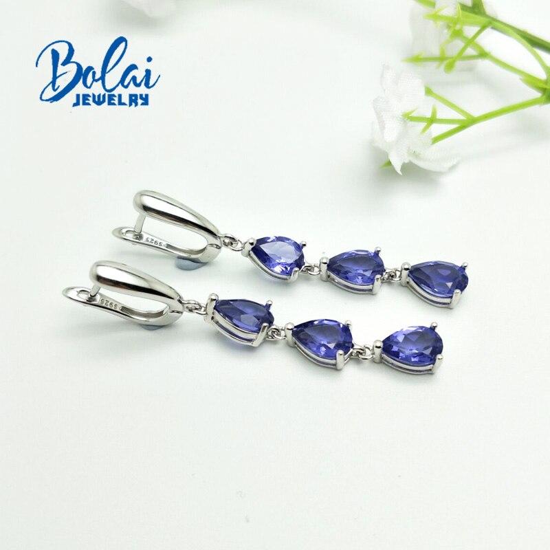 Bolaijewelry, 925 은색 귀걸이 나노 탄자니아 배 6*9mm, 여성을위한 우아한 디자인 파인 쥬얼리 매일 착용-에서귀걸이부터 쥬얼리 및 액세서리 의  그룹 3