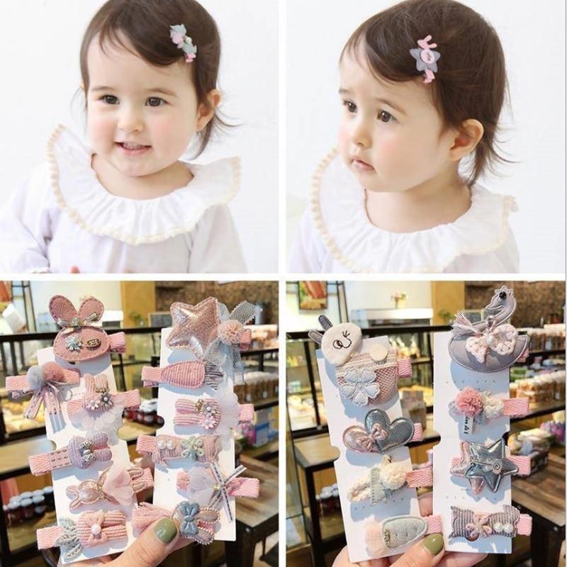 1Set High-quality Nylon Hair Clips For Girls Kid Pink Princess Series Hairpins Sweet  Barrettes  Hair Accessories Headdress