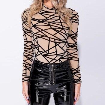 Long Sleeve Sexy Womens Jumpsuit Warm Slim Fit Geometric Print Mesh Fashion Bodysuits Casual