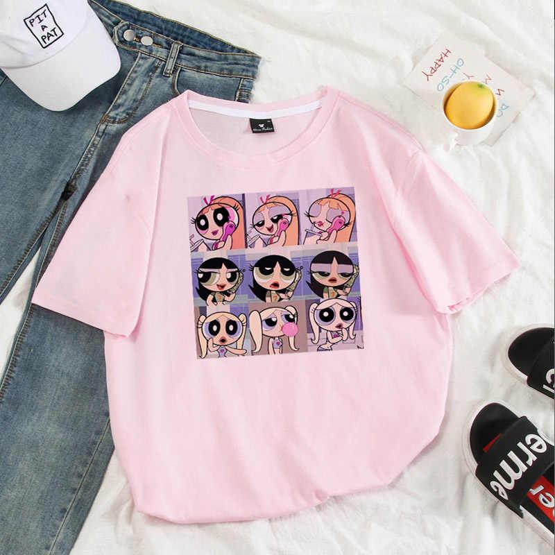 2020 새 셔츠 여성 미적 귀여운 그래픽 티 캐주얼 인쇄 그래픽 t 셔츠 한국 femme 티셔츠 빈티지 대형 탑 선물