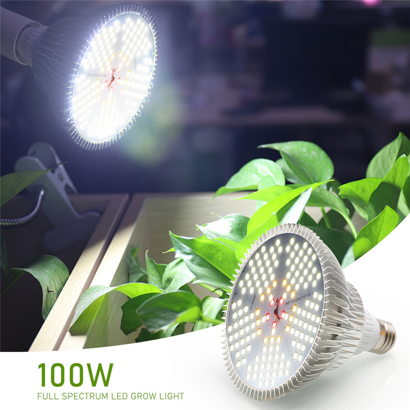 LED Grow Light Full Spectrum 100W Red Warm White 150Leds Growing Lamp E27 Bulbs For Indoor Hydroponics Flowers Plants Vegetables