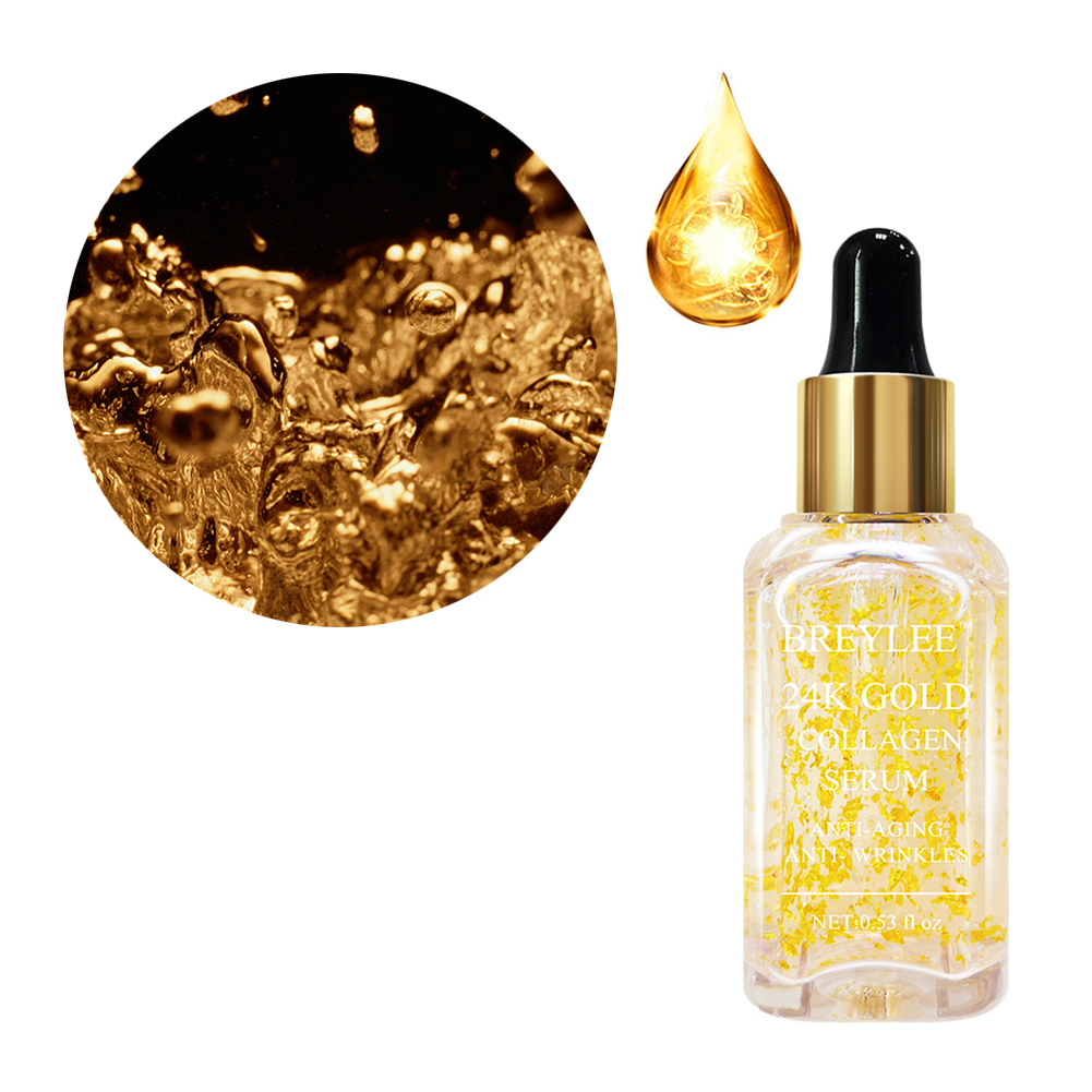 24K Gold Collagen Serum Reduce Fine Lines With Vitamins C E Facial Care Repair Essence With Hyaluronic Acid