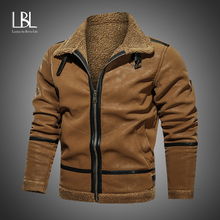 Jackets Motorcycle Pu-Coat Fur-Collar Faux-Leather Brand-Clothing Winter Casual Mens