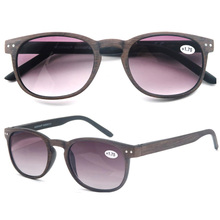 MODFANS Round Reading Glasses Men Women Wood Look Frame Sunglasses Readers Vintage Spring Hinge Diopter 1 1.25 1.5 1.75 2 2.25
